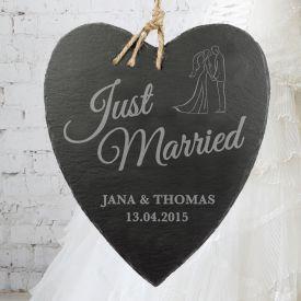 Schieferherz mit Silhouetten Gravur - Just Married
