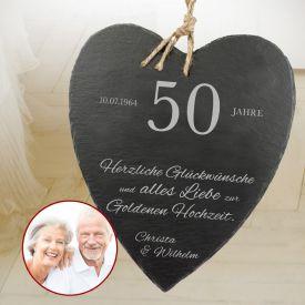 Schieferherz zur Goldenen Hochzeit