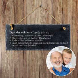 Schiefertafel mit Gravur - Definition Weltbester Opa