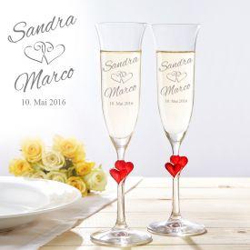 Fltes de champagne avec coeurs - graves