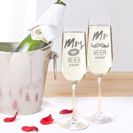 Fltes  champagne - Mr and Mrs avec motif et gravure du nom