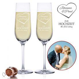 Fltes  champagne pour le mariage - Gravure cur