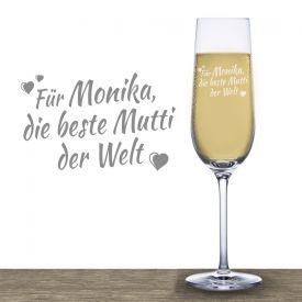 Flte  champagne avec gravure  Meilleure maman