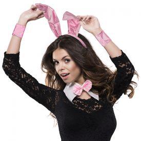 Sexy Bunny Kostm - Hasenohren Set Pink