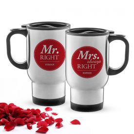 Set de 2 tasses thermos personnalises - Mr and Mrs Right