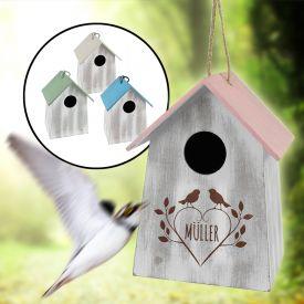 Vogelhuschen mit Holzgravur - vier Farben
