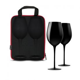 Verres  vin noirs - avec tui