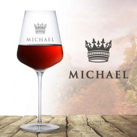 Verre  vin avec gravure  Couronne de roi