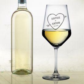 Verre  vin blanc avec gravure  flche dAmor