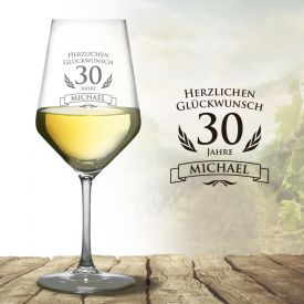 Weiweinglas zum 30. Geburtstag