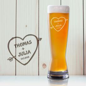 Weizenglas mit Gravur - Amors Pfeil
