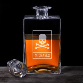 Whisky Karaffe Deluxe - mit Totenkopf Gravur