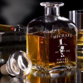 Carafe  whisky - avec gravure de gentleman
