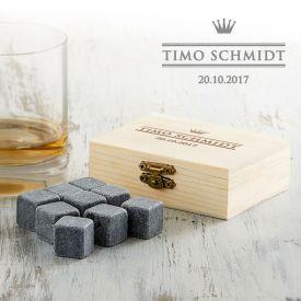 Pierres  whisky dans bote en bois avec gravure - Royal