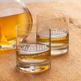 Whiskyglser mit College Motiv - Mama  Papa