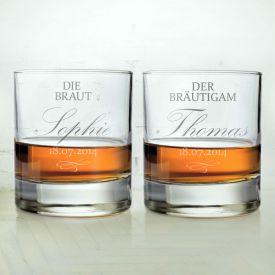 Whiskyglser zur Hochzeit - Braut und Brutigam
