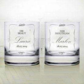 Verres  whisky pour le mariage - Couple de maris
