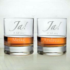 Whiskyglser zur Hochzeit - Jawort Gravur