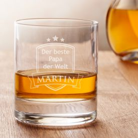 Verre  whisky avec gravure - Meilleur papa