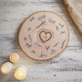 XXL Baumscheibe mit Gravur - Gstebuch zur Hochzeit