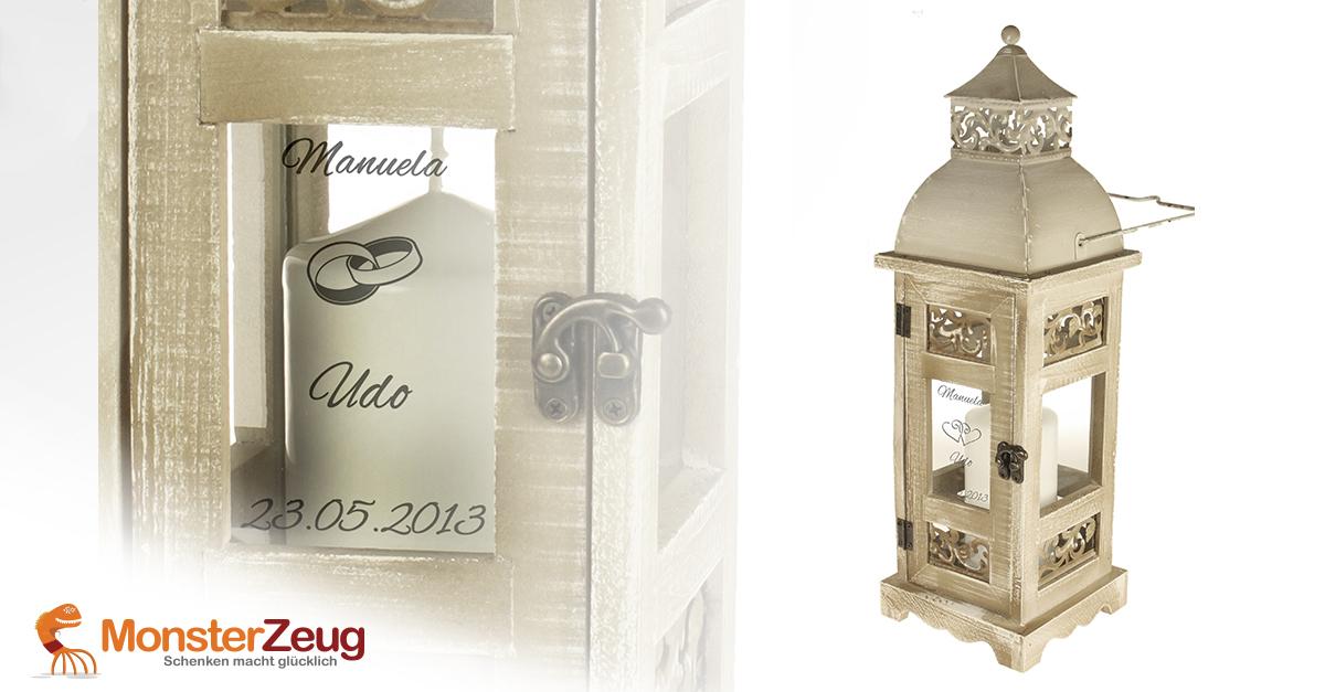 Romantische hochzeitslaterne personalisiert mit wunschgravur - Romantische dekoartikel ...